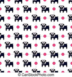pug and bone pattern - Seamless pattern with pug and bone...