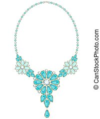 Necklace - Vintage necklace with aquamarine flowers rimmed...