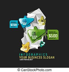 Vector fresh business abstract infographics on 3d triangular...