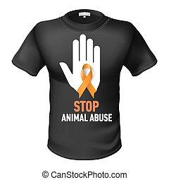 T-shirt animal abuse - Black t-shirt with sign animal abuse...