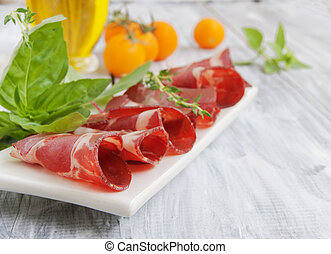 fresh beef cuts, carpaccio, with vegetables and