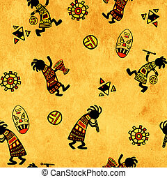 Seamless background with african national patterns -...