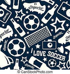 Soccer seamless pattern White print on a black background
