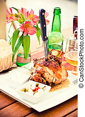Veprevo knee - Traditional Czech dish Veprevo knee, roasted...