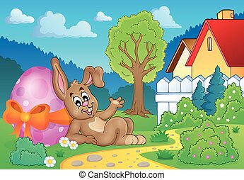 Bunny with Easter egg theme image 2