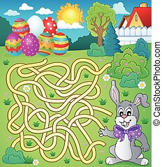 Maze 4 with Easter theme - eps10 vector illustration