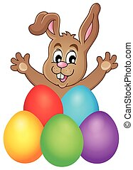 Young bunny with Easter eggs theme 1
