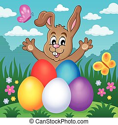 Young bunny with Easter eggs theme 2