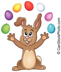 Young bunny with Easter eggs theme 3 - eps10 vector...