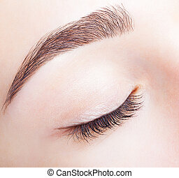 Female closed eye and brows with day makeup - Closeup shot...
