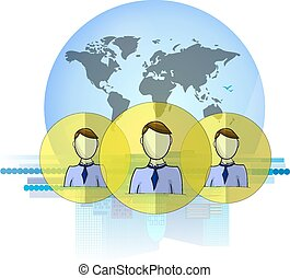 Illustration of social media heads with international...