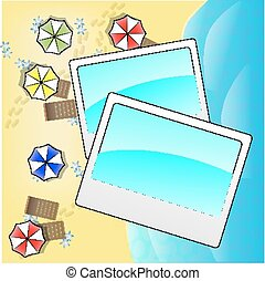 Illustration of beach from above with photo frames