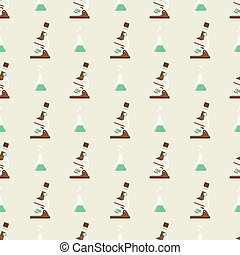 microscope and flask png pattern - Seamless pattern with...