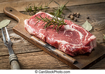 Raw beef steak. - Raw beef steak ready to grill. Selective...