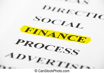 Finance with some other related words on paper