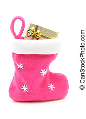 Pink christmas stocking with gift in isolated white...