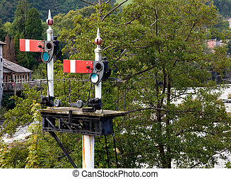Old railway semaphore signals at Llangollen station -...