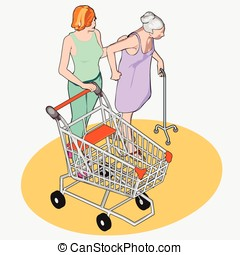 Isometric Grocery Shopping - Adult and Senior Women with Shopping Cart