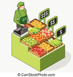 Isometric Greengrocer Shop - Woman Owner - Front View...