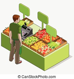 Isometric Greengrocer Shop - Man Owner - Rear View Standing...