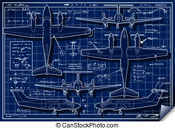 Infographic Airplane Blue Print Project - Detailed...