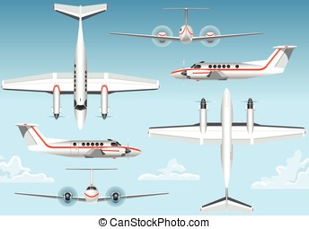 Orthogonal Views of a Flying Airplane - Detailed...
