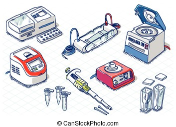 Isometric Sketch - Molecular Biology - Laboratory Set -...