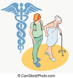 Isometric Healthcare People Set - Senior Patient and Nurse -...