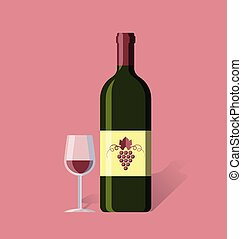 Red wine bottle and glass in simple retro style