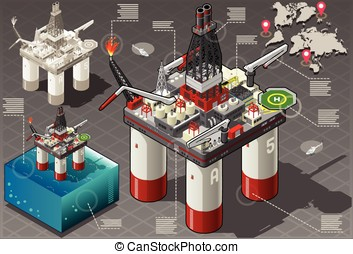 Isometric Infographic Rig Energy Set - Detailed illustration...