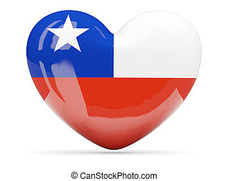 Heart shaped icon with flag of chile