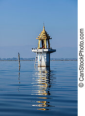 Buddhist shrine lake - Buddhist shrine in water, Inle lake,...