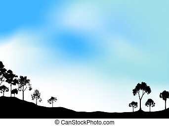 Parkland silhouette - Silhouette of open woodland with hazy...