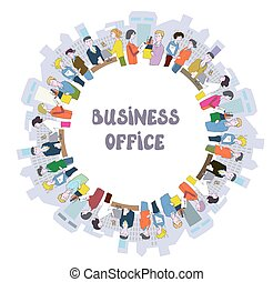 Business people at the office - frame with many workers and rooms