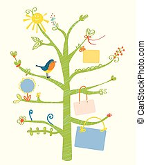 Cute tree card with text frames for kids - illustration