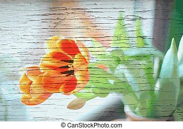 Tulips background on wood - for card or banner