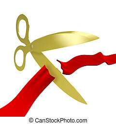 Gold Scissors Cutting Red Ribbon - A pair of golden scissors...