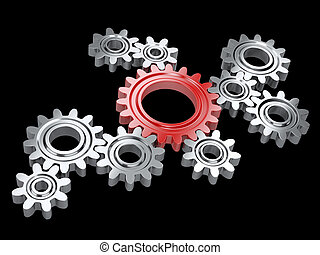 Metallic gears and one red. Teamwork and leadership concept.