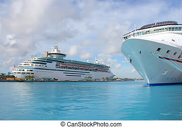 Cruise ships in Nassau port - Cruise ships in the clear blue...
