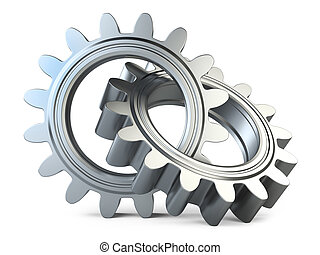 Gear wheels system isolated on a white background