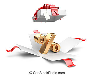 Open gift box with gold percent symbol