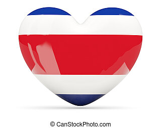 Heart shaped icon with flag of costa rica