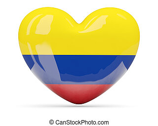 Heart shaped icon with flag of colombia