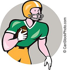 American Football Player Rusher Circle Retro - Illustration...