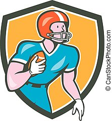 American Football Player Rusher Shield Retro - Illustration...