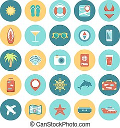 Flat icons set for Web and Mobile Applications. Travel.