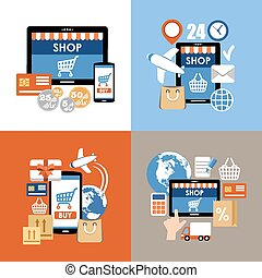 Internet shopping, e-commerce, online shopping set. Vector...