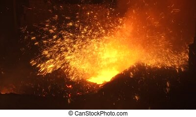 Sparks of molten metal during the process of smelting iron