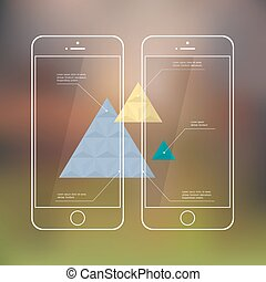 Creative template of mobile phones for presentation or infographic