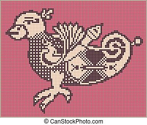 pixel bird design in folk style for cross stitch embroidery...